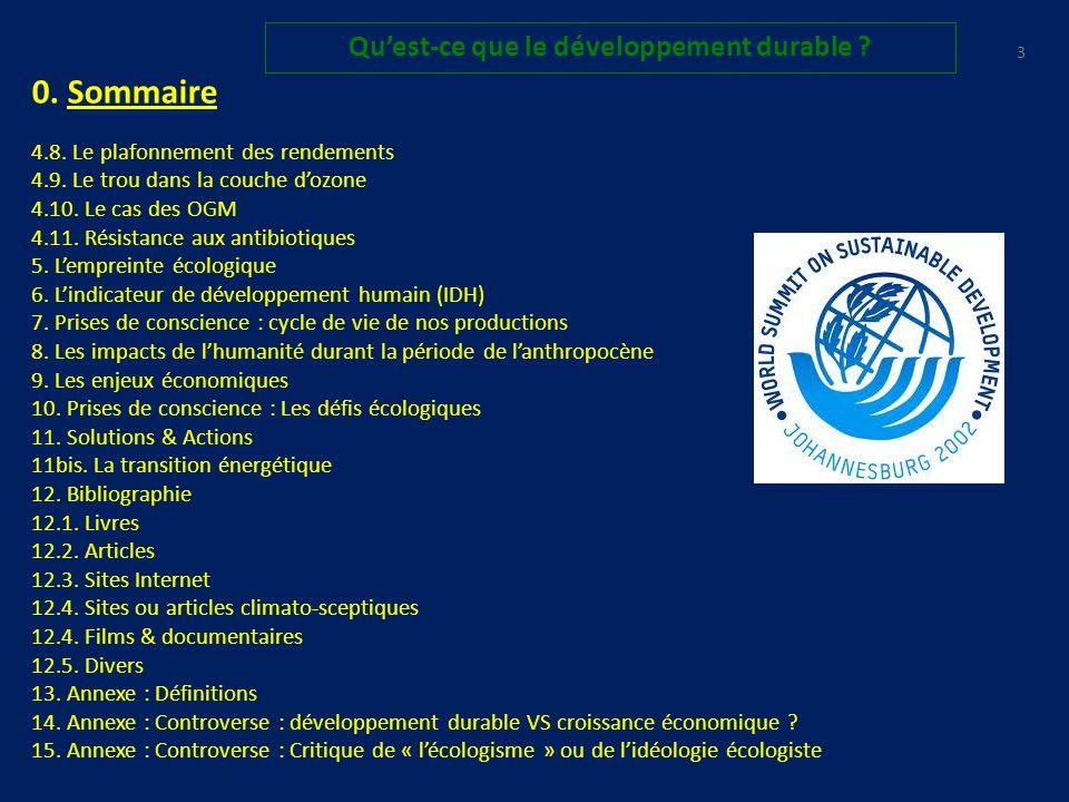 0.Sommaire 1. Introduction : Quest-ce que le développement durable .