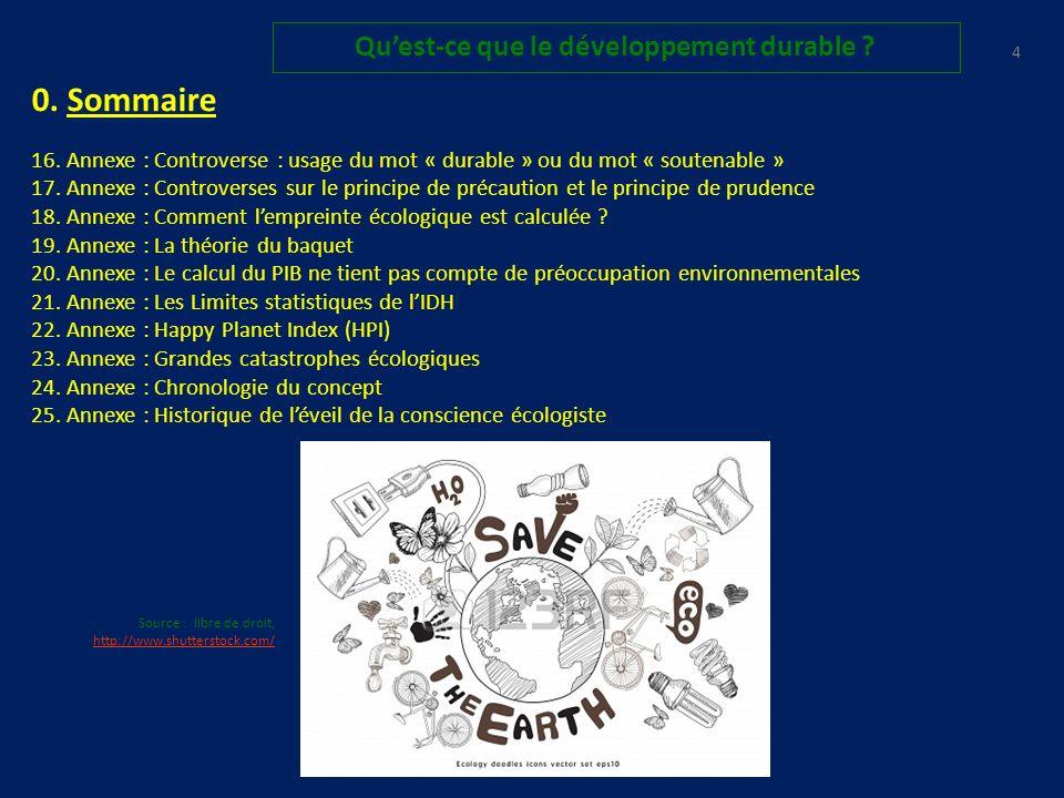 0.Sommaire 16. Annexe : Controverse : usage du mot « durable » ou du mot « soutenable » 17.