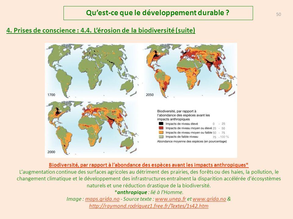 49 Quest-ce que le développement durable .4. Prises de conscience : 4.4.