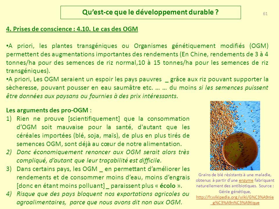 60 Quest-ce que le développement durable .4. Prises de conscience : 4.9.