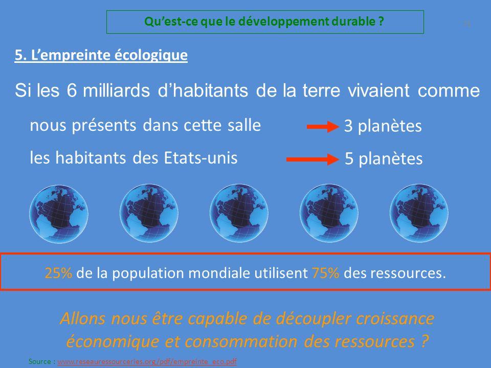 Si les 6 milliards dhabitants de la terre vivaient comme nous, présents dans cette salle 3 planètes Il faudrait 70 Quest-ce que le développement durable .