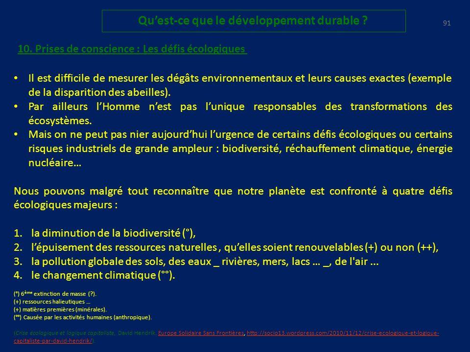 90 Quest-ce que le développement durable .Enjeux économiques vs écologie9.