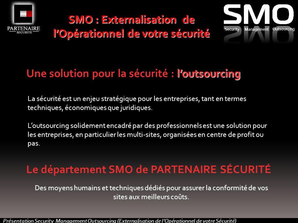Présentation Security Management Outsourcing (Externalisation de lOpérationnel de votre Sécurité) loutsourcing Une solution pour la sécurité : loutsourcing La sécurité est un enjeu stratégique pour les entreprises, tant en termes techniques, économiques que juridiques.