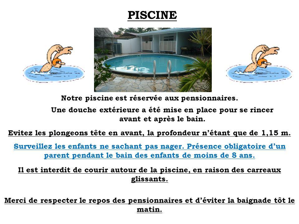 PISCINE Notre piscine est réservée aux pensionnaires. Une douche extérieure a été mise en place pour se rincer avant et après le bain. Evitez les plon