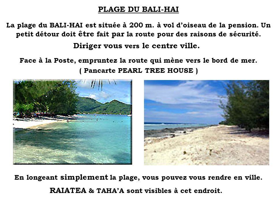 PLAGE DU BALI-HAI La plage du BALI-HAI est située à 200 m. à vol doiseau de la pension. Un petit détour doit être fait par la route pour des raisons d