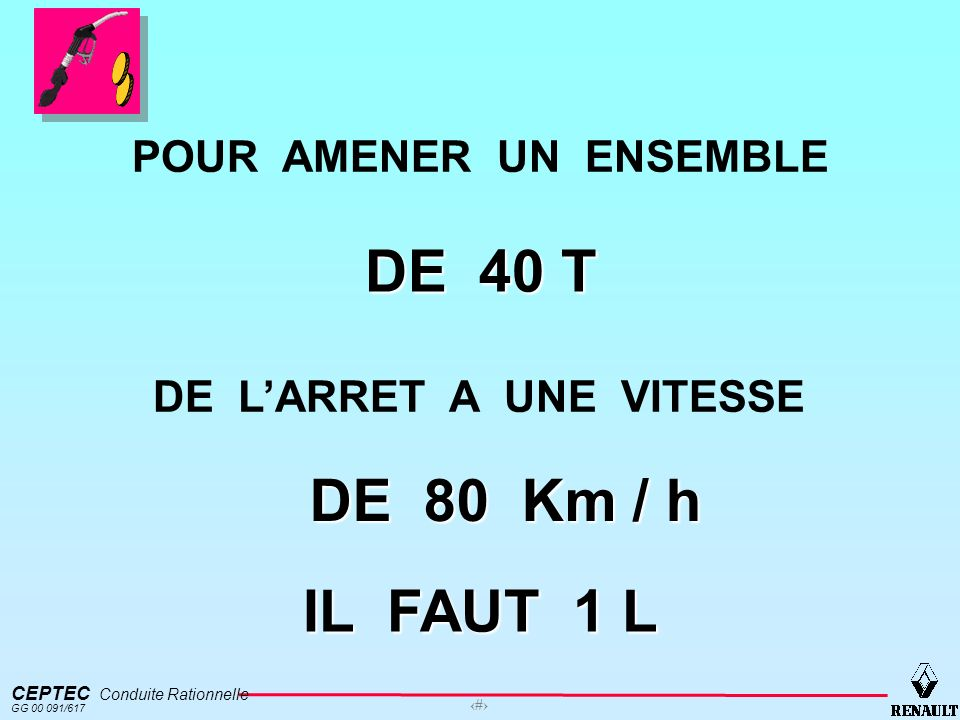 CEPTEC Conduite Rationnelle GG 00 091/617 8 POUR AMENER UN ENSEMBLE DE 40 T DE LARRET A UNE VITESSE IL FAUT 1 L DE 80 Km / h