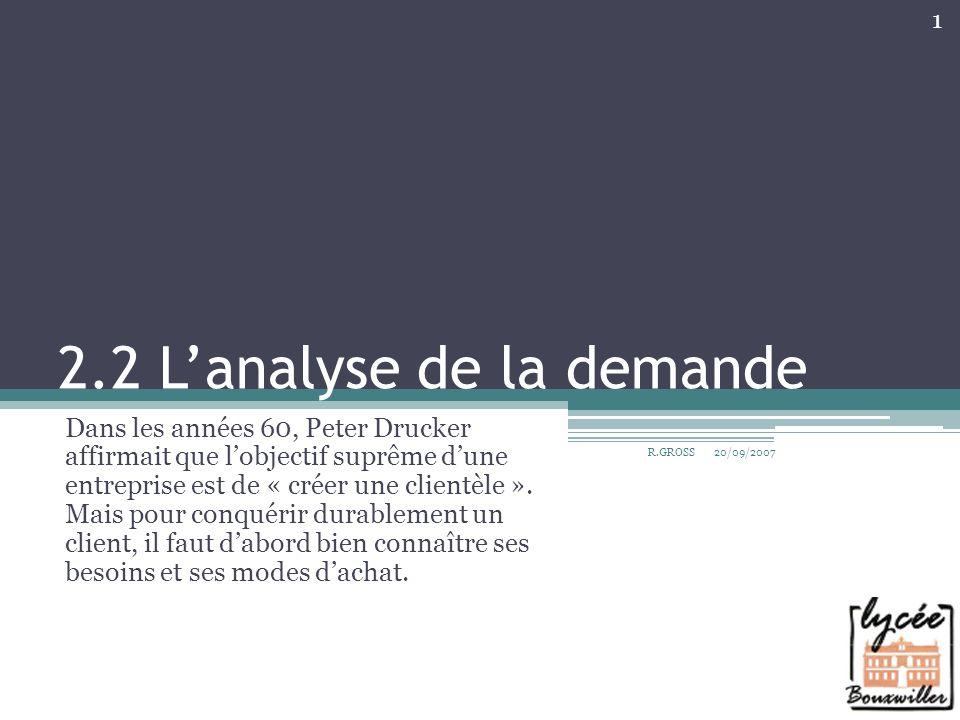 2.2 Lanalyse de la demande Dans les années 60, Peter Drucker affirmait que lobjectif suprême dune entreprise est de « créer une clientèle ». Mais pour