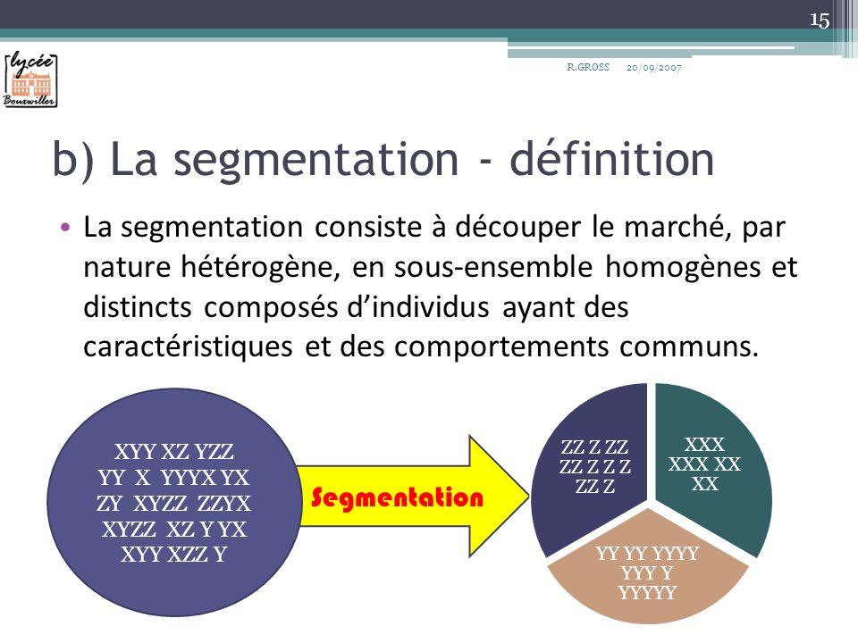 Segmentation b) La segmentation - définition La segmentation consiste à découper le marché, par nature hétérogène, en sous-ensemble homogènes et disti