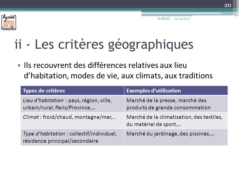 ii - Les critères géographiques Ils recouvrent des différences relatives aux lieu dhabitation, modes de vie, aux climats, aux traditions R.GROSS 20 Ty