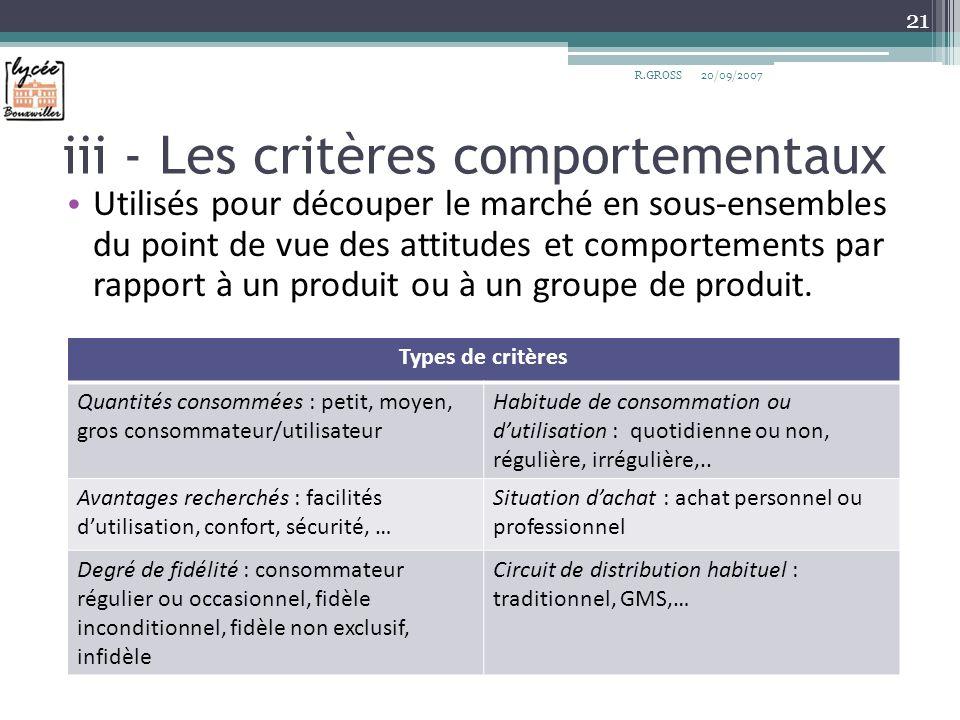 iii - Les critères comportementaux Utilisés pour découper le marché en sous-ensembles du point de vue des attitudes et comportements par rapport à un