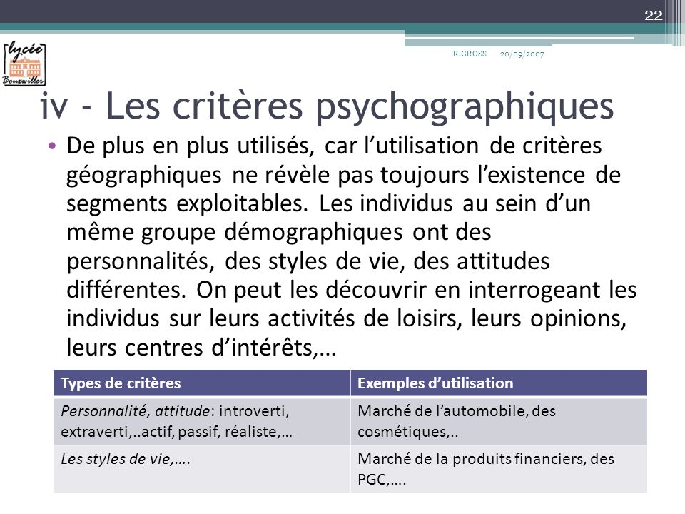 iv - Les critères psychographiques De plus en plus utilisés, car lutilisation de critères géographiques ne révèle pas toujours lexistence de segments