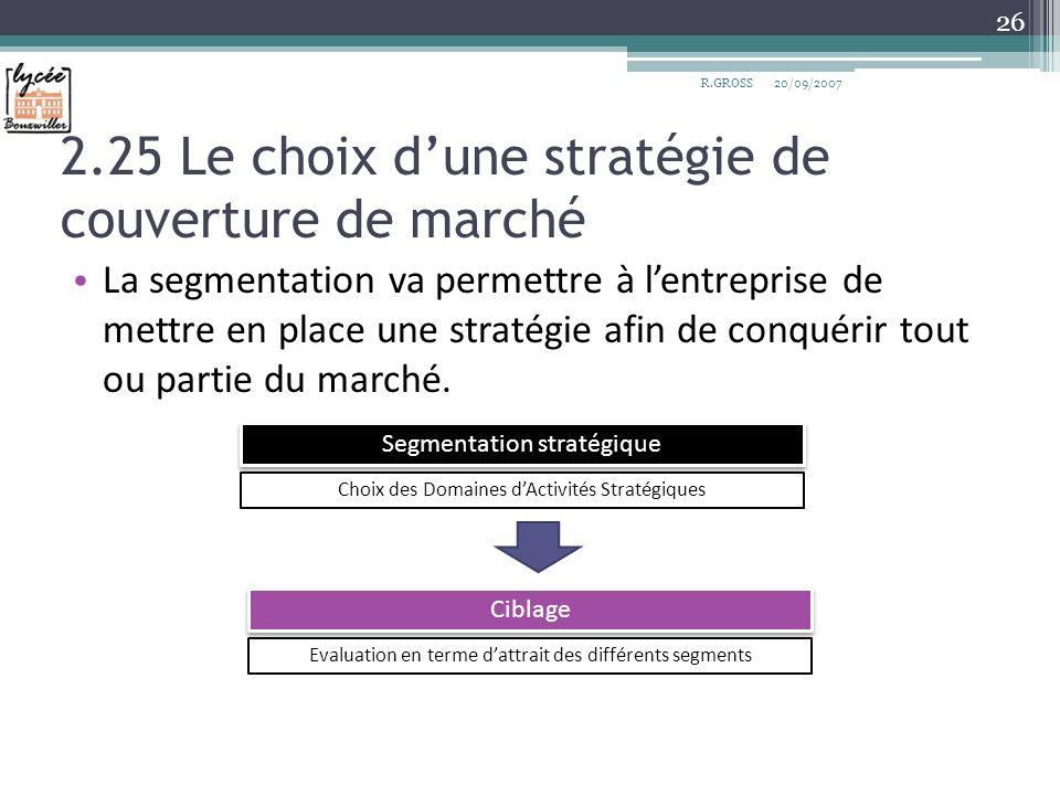2.25 Le choix dune stratégie de couverture de marché La segmentation va permettre à lentreprise de mettre en place une stratégie afin de conquérir tou
