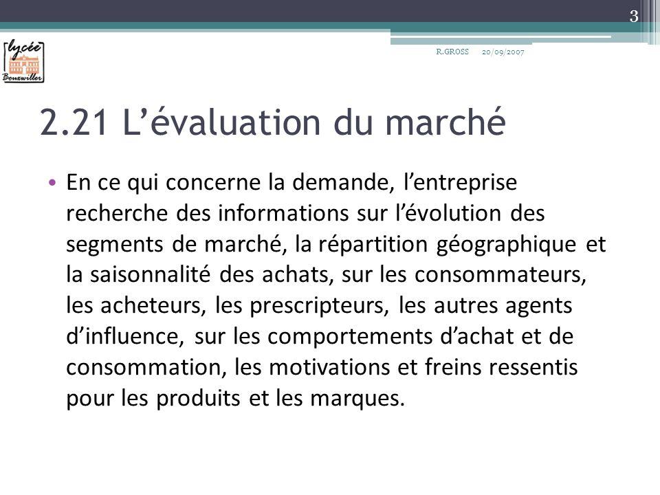 2.21 Lévaluation du marché En ce qui concerne la demande, lentreprise recherche des informations sur lévolution des segments de marché, la répartition