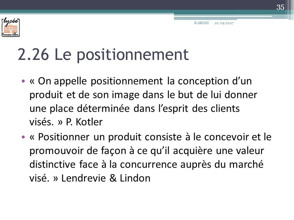 2.26 Le positionnement « On appelle positionnement la conception dun produit et de son image dans le but de lui donner une place déterminée dans lespr