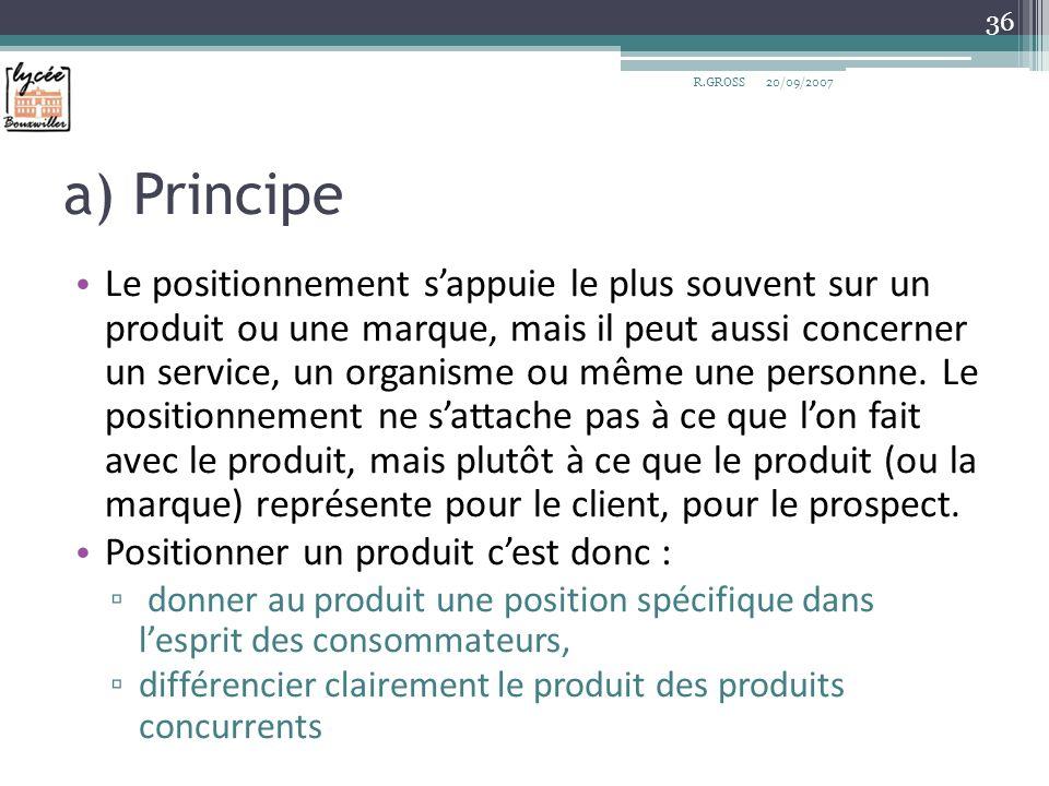 a) Principe Le positionnement sappuie le plus souvent sur un produit ou une marque, mais il peut aussi concerner un service, un organisme ou même une