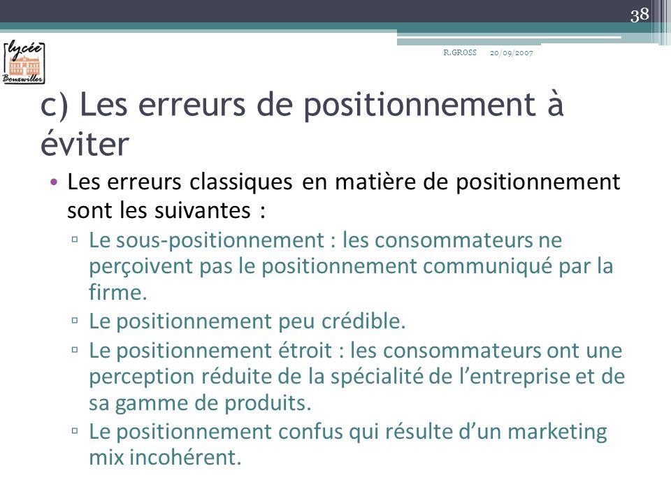 c) Les erreurs de positionnement à éviter Les erreurs classiques en matière de positionnement sont les suivantes : Le sous-positionnement : les consom