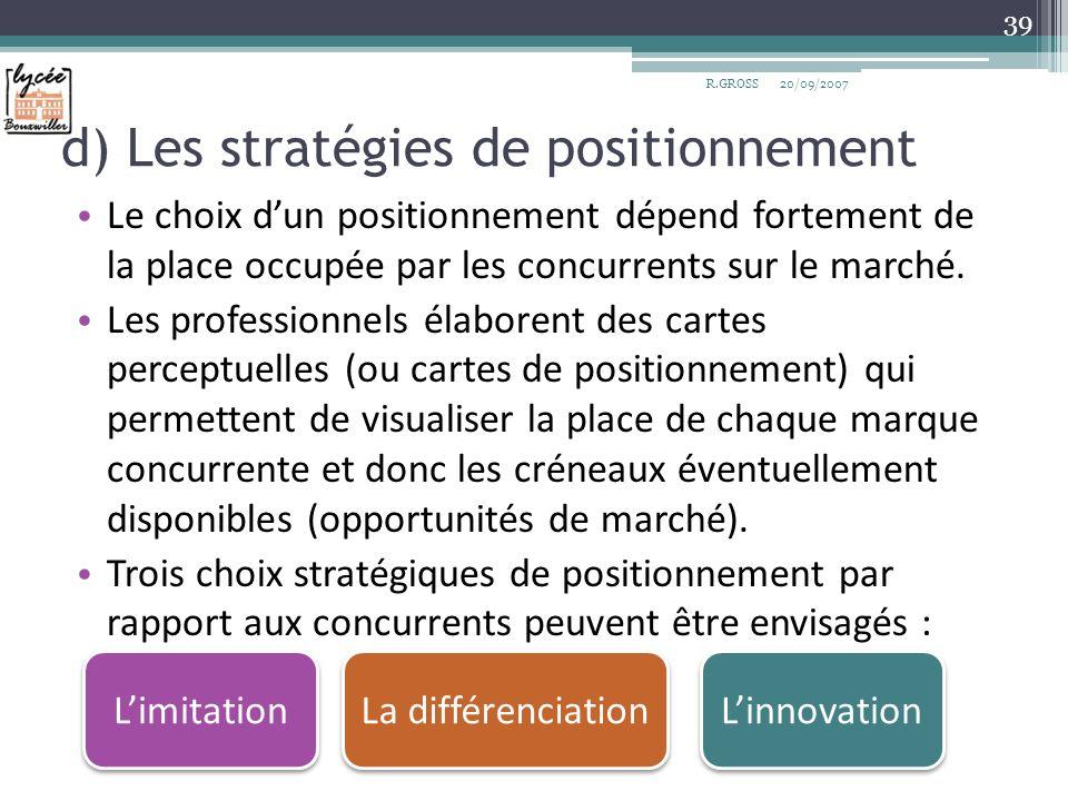 d) Les stratégies de positionnement Le choix dun positionnement dépend fortement de la place occupée par les concurrents sur le marché. Les profession