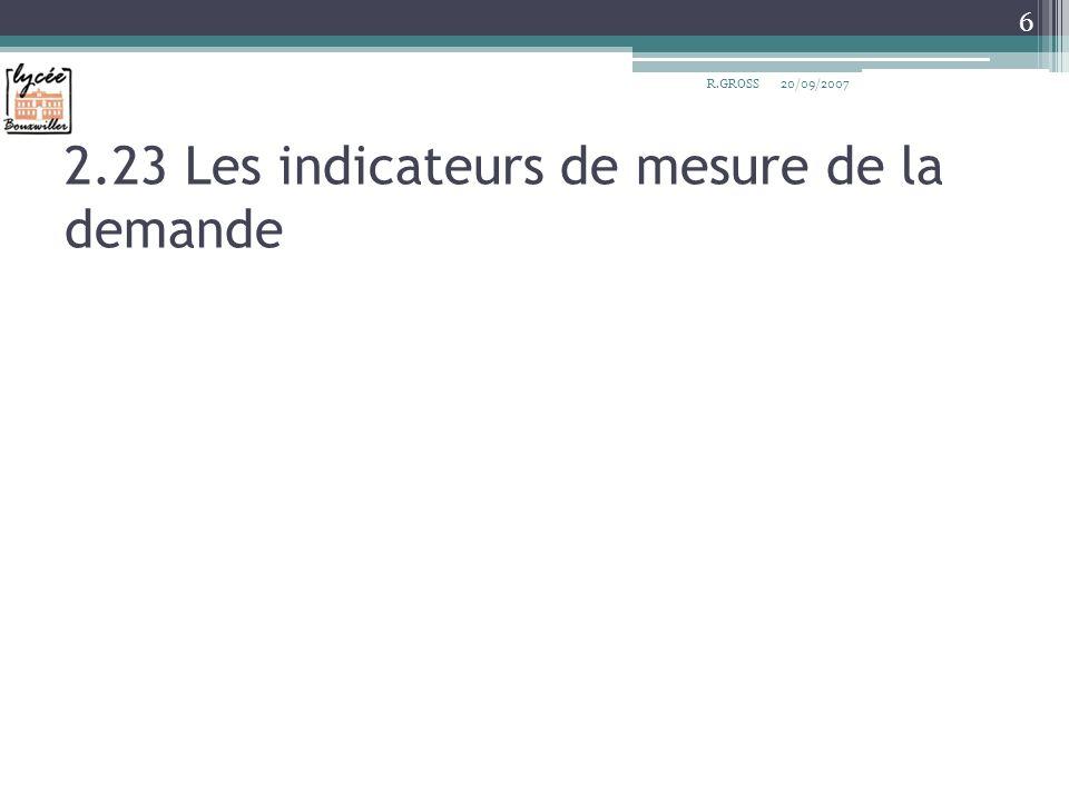 2.23 Les indicateurs de mesure de la demande R.GROSS 6 20/09/2007
