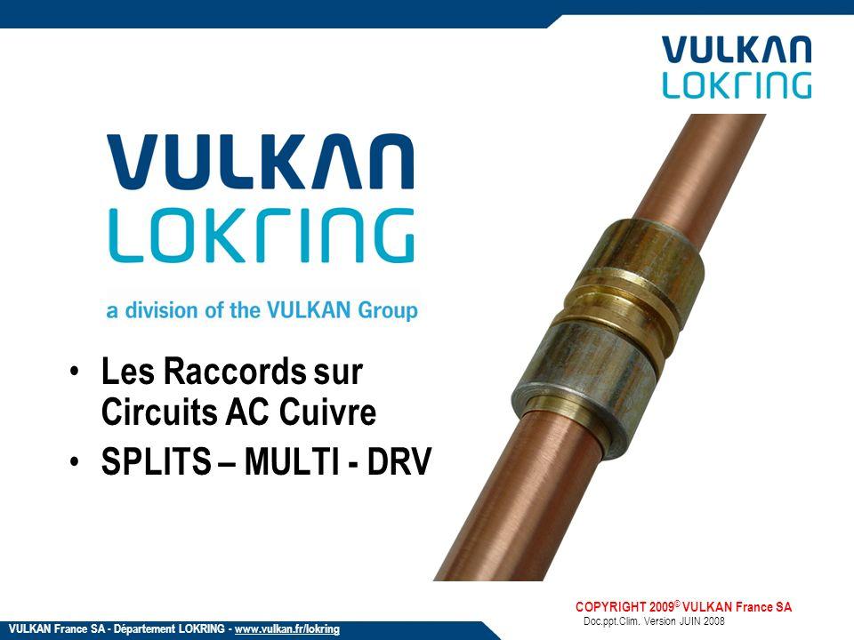 Les Raccords sur Circuits AC Cuivre SPLITS – MULTI - DRV Doc.ppt.Clim. Version JUIN 2008 COPYRIGHT 2009 © VULKAN France SA VULKAN France SA - Départem