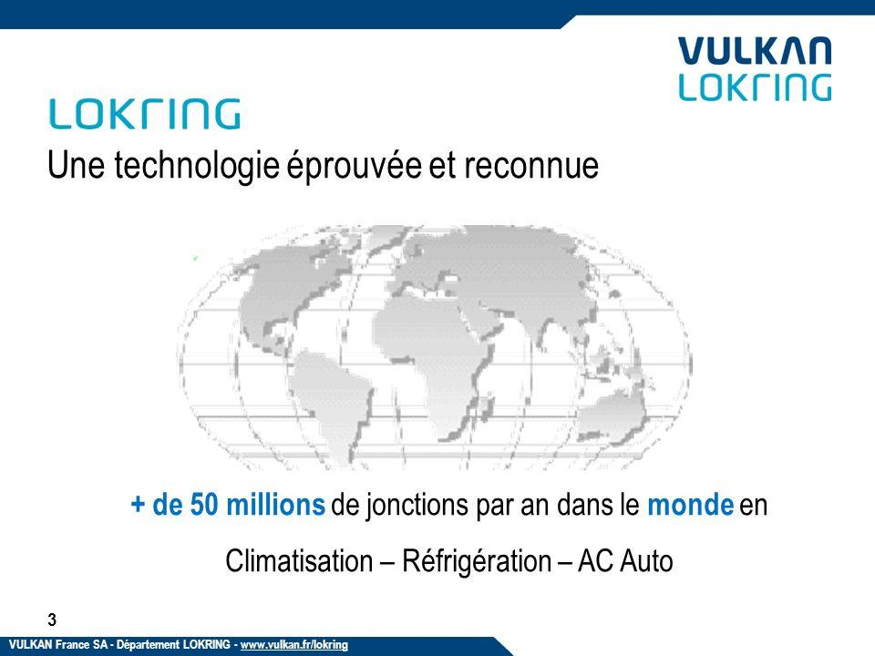 Une technologie éprouvée et reconnue + de 50 millions de jonctions par an dans le monde en Climatisation – Réfrigération – AC Auto 3 VULKAN France SA