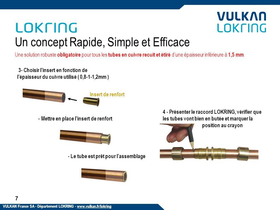7 Un concept Rapide, Simple et Efficace 3- Choisir linsert en fonction de lépaisseur du cuivre utilisé ( 0,8-1-1,2mm ) - Le tube est prêt pour lassemb