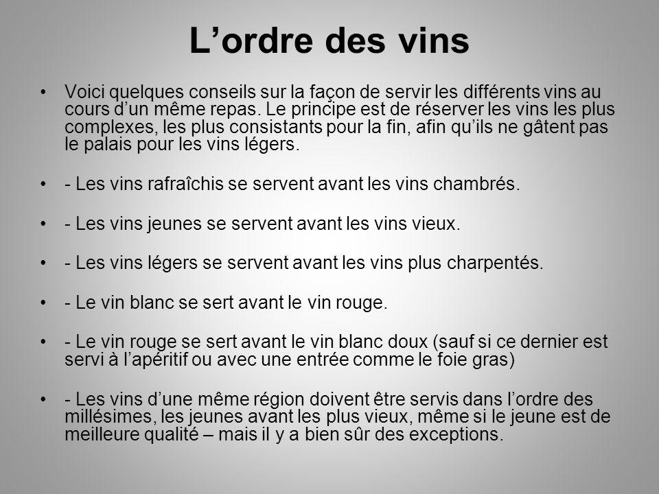Lordre des vins Voici quelques conseils sur la façon de servir les différents vins au cours dun même repas.