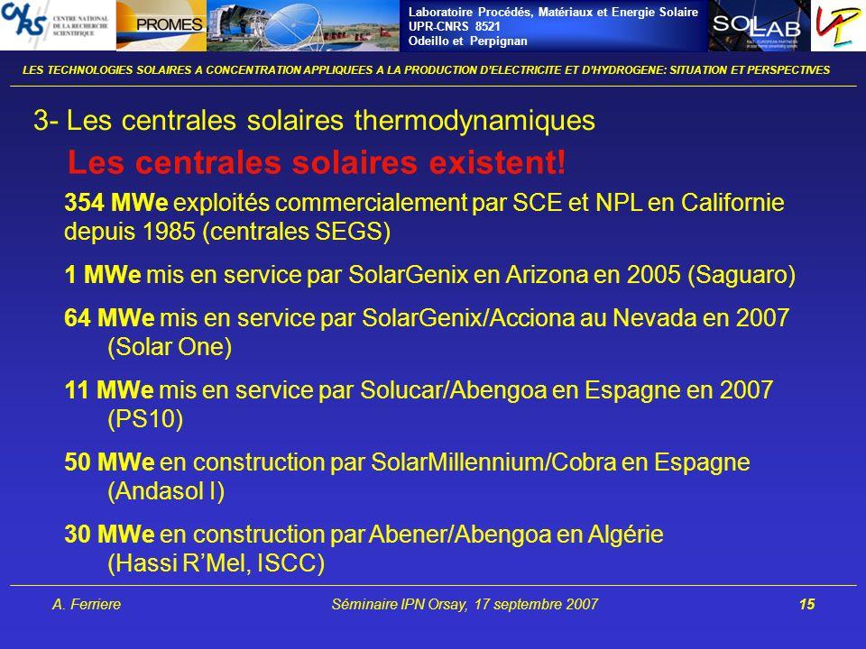 Laboratoire Procédés, Matériaux et Energie Solaire UPR-CNRS 8521 Odeillo et Perpignan A. FerriereSéminaire IPN Orsay, 17 septembre 200715 3- Les centr