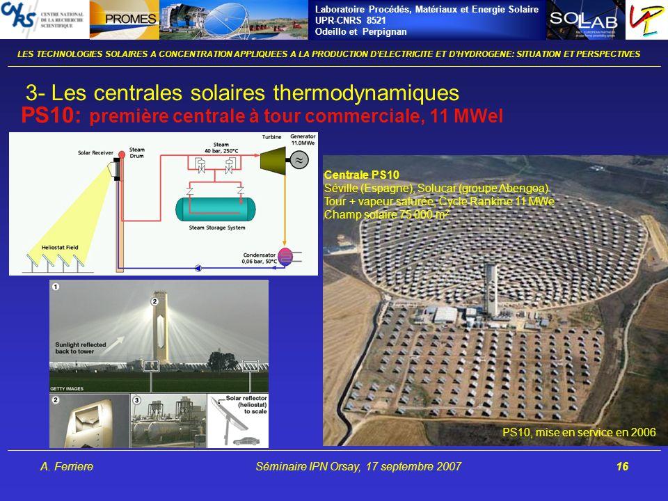 Laboratoire Procédés, Matériaux et Energie Solaire UPR-CNRS 8521 Odeillo et Perpignan A. FerriereSéminaire IPN Orsay, 17 septembre 200716 PS10: premiè