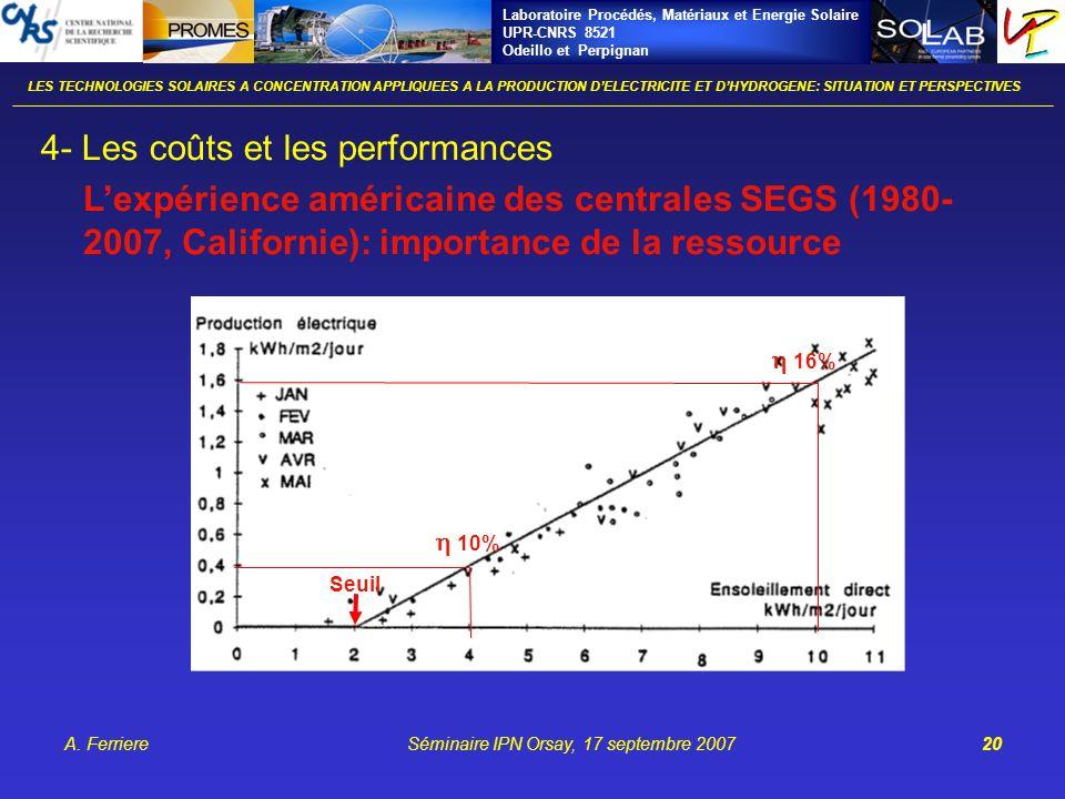 Laboratoire Procédés, Matériaux et Energie Solaire UPR-CNRS 8521 Odeillo et Perpignan A. FerriereSéminaire IPN Orsay, 17 septembre 200720 LES TECHNOLO