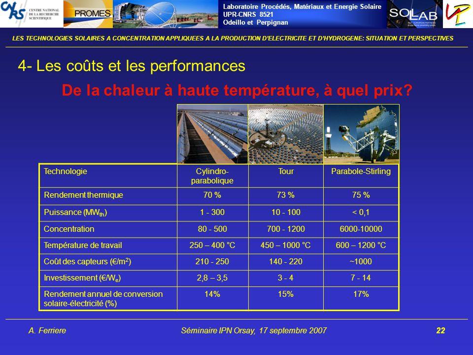 Laboratoire Procédés, Matériaux et Energie Solaire UPR-CNRS 8521 Odeillo et Perpignan A. FerriereSéminaire IPN Orsay, 17 septembre 200722 LES TECHNOLO