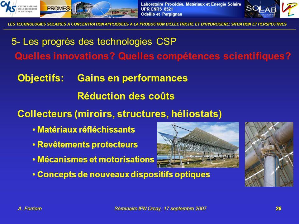 Laboratoire Procédés, Matériaux et Energie Solaire UPR-CNRS 8521 Odeillo et Perpignan A. FerriereSéminaire IPN Orsay, 17 septembre 200726 LES TECHNOLO