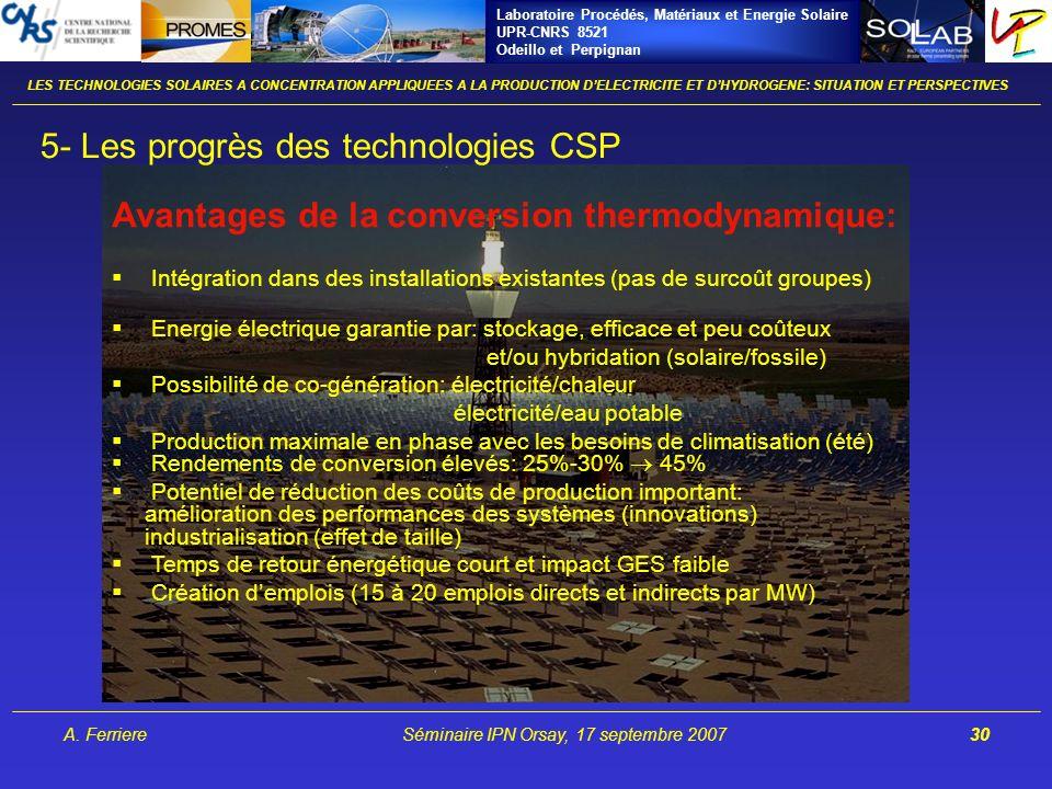 Laboratoire Procédés, Matériaux et Energie Solaire UPR-CNRS 8521 Odeillo et Perpignan A. FerriereSéminaire IPN Orsay, 17 septembre 200730 LES TECHNOLO
