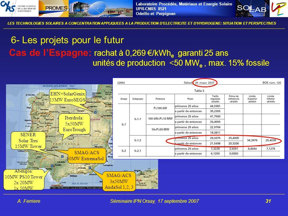 Laboratoire Procédés, Matériaux et Energie Solaire UPR-CNRS 8521 Odeillo et Perpignan A. FerriereSéminaire IPN Orsay, 17 septembre 200731 Abengoa: 10M