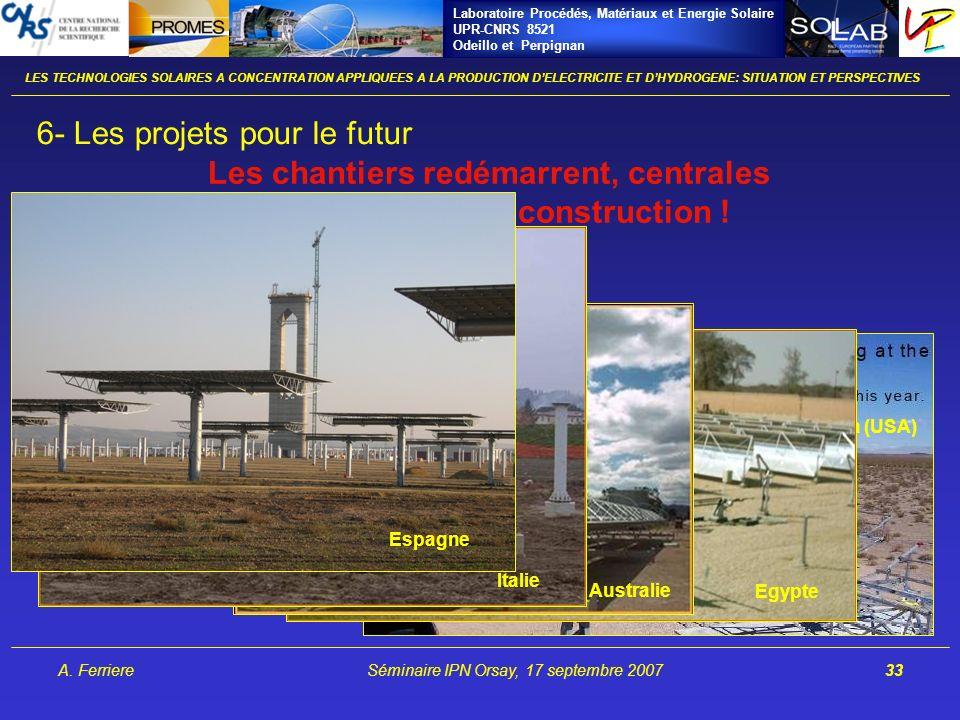 Laboratoire Procédés, Matériaux et Energie Solaire UPR-CNRS 8521 Odeillo et Perpignan A. FerriereSéminaire IPN Orsay, 17 septembre 200733 Nevada (USA)