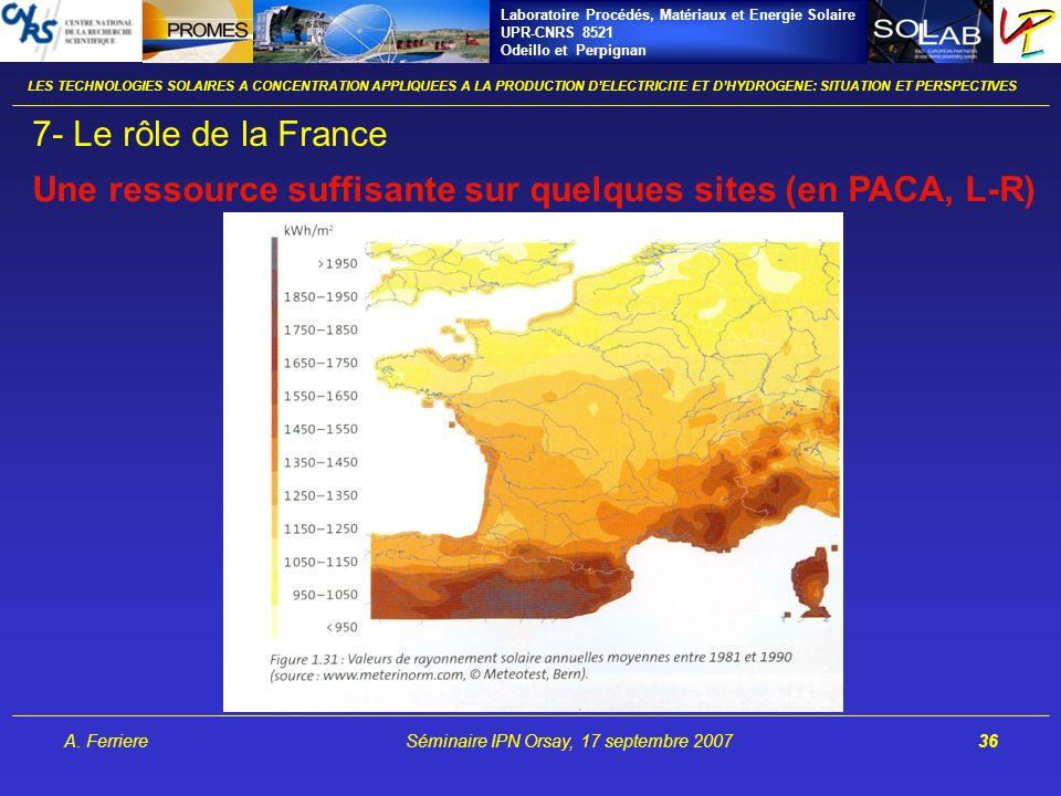 Laboratoire Procédés, Matériaux et Energie Solaire UPR-CNRS 8521 Odeillo et Perpignan A. FerriereSéminaire IPN Orsay, 17 septembre 200736 LES TECHNOLO
