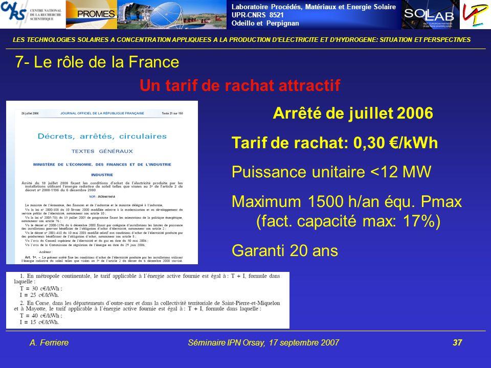 Laboratoire Procédés, Matériaux et Energie Solaire UPR-CNRS 8521 Odeillo et Perpignan A. FerriereSéminaire IPN Orsay, 17 septembre 200737 LES TECHNOLO