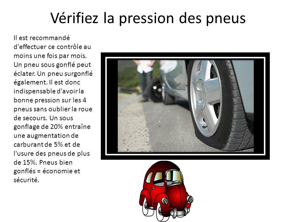 Vérifiez la pression des pneus Il est recommandé d'effectuer ce contrôle au moins une fois par mois. Un pneu sous gonflé peut éclater. Un pneu surgonf