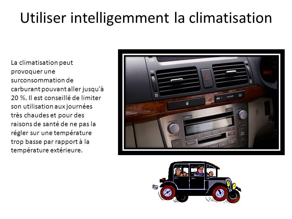 Utiliser intelligemment la climatisation La climatisation peut provoquer une surconsommation de carburant pouvant aller jusqu'à 20 %. Il est conseillé