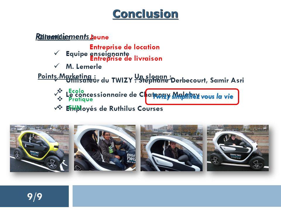 Conclusion Remerciements : Equipe enseignante Utilisateur du TWIZY : Stéphane Derbecourt, Samir Asri M. Lemerle Le concessionnaire de Chatenay Malabry