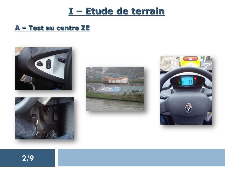 I – Etude de terrain A – Test au centre ZE