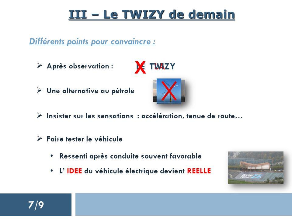 III – Le TWIZY de demain Différents points pour convaincre : Après observation : Une alternative au pétrole Insister sur les sensations : accélération