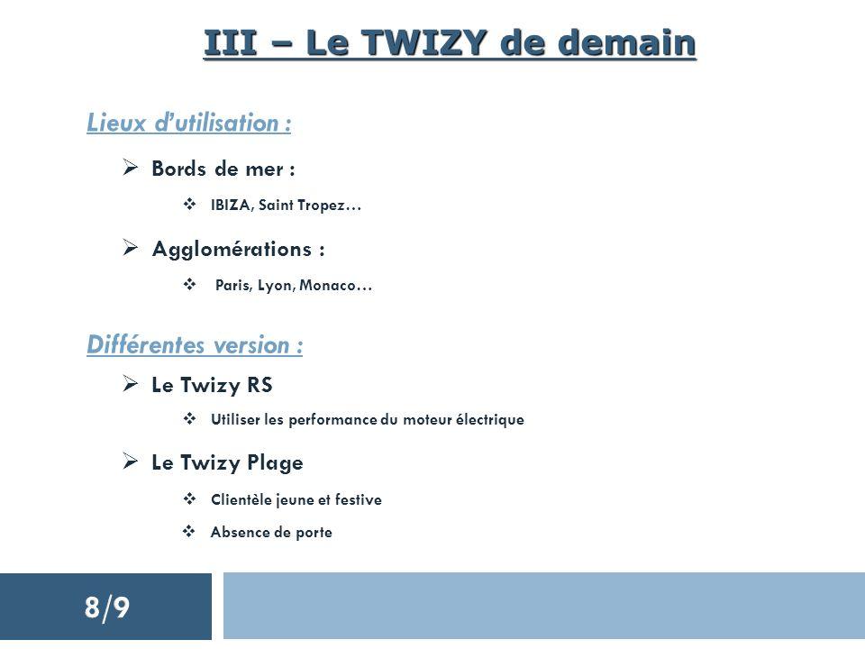 III – Le TWIZY de demain Lieux dutilisation : Bords de mer : IBIZA, Saint Tropez… Agglomérations : Paris, Lyon, Monaco… Différentes version : Le Twizy