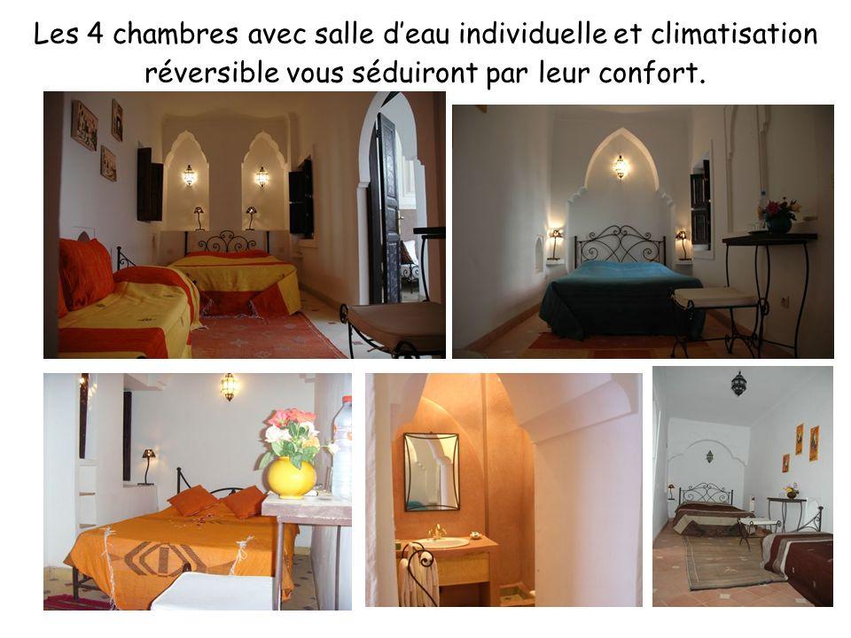 Les 4 chambres avec salle deau individuelle et climatisation réversible vous séduiront par leur confort.
