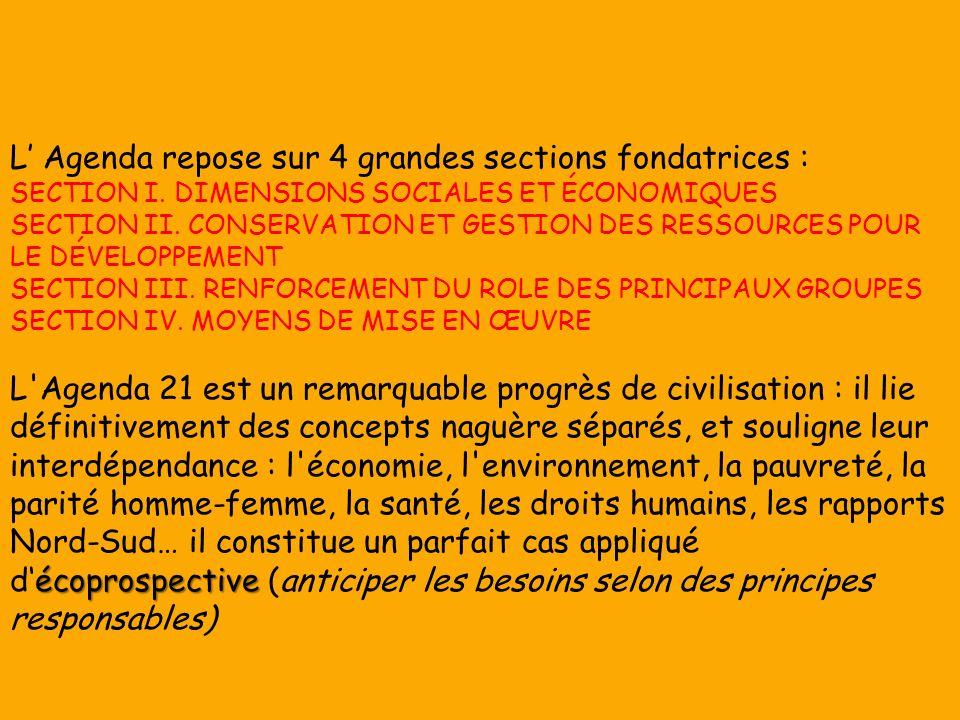 L Agenda repose sur 4 grandes sections fondatrices : SECTION I.