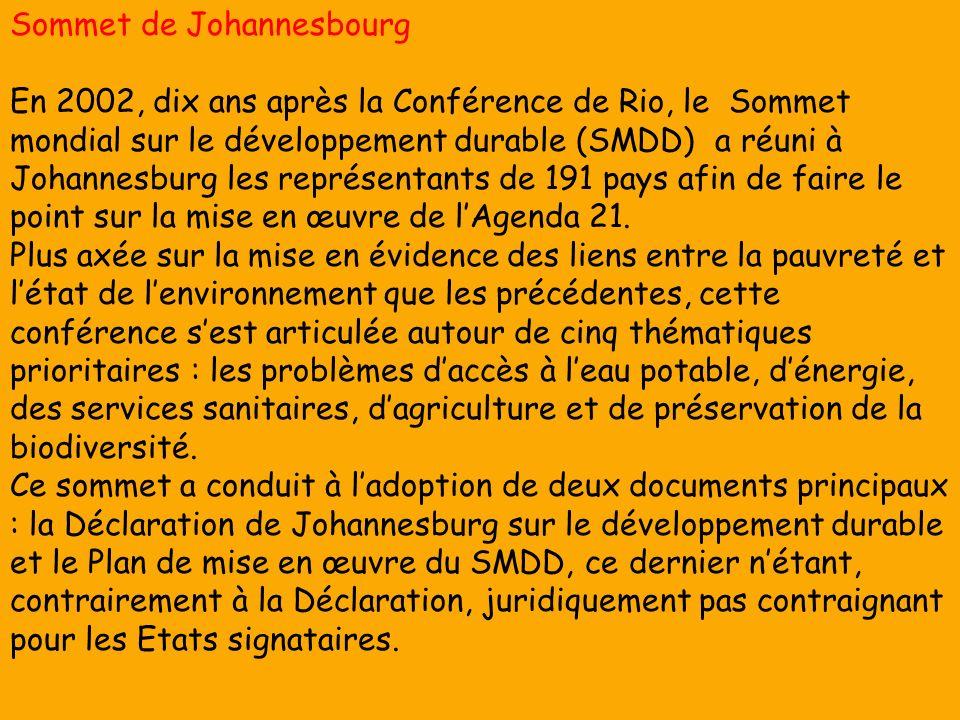 Sommet de Johannesbourg En 2002, dix ans après la Conférence de Rio, le Sommet mondial sur le développement durable (SMDD) a réuni à Johannesburg les représentants de 191 pays afin de faire le point sur la mise en œuvre de lAgenda 21.