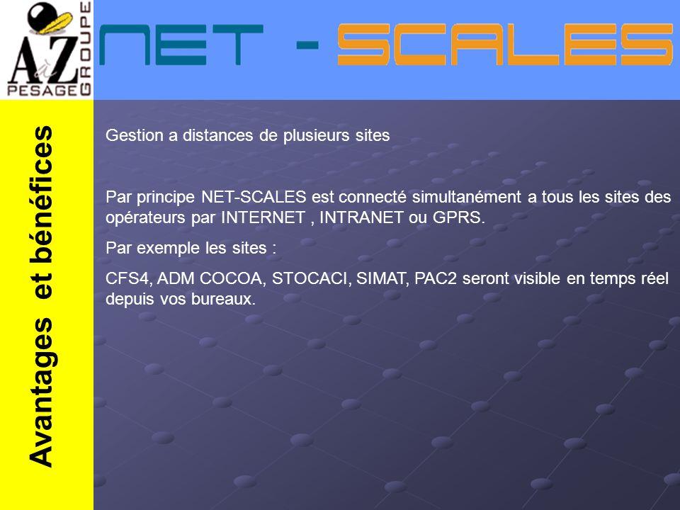 Gestion a distances de plusieurs sites Par principe NET-SCALES est connecté simultanément a tous les sites des opérateurs par INTERNET, INTRANET ou GP