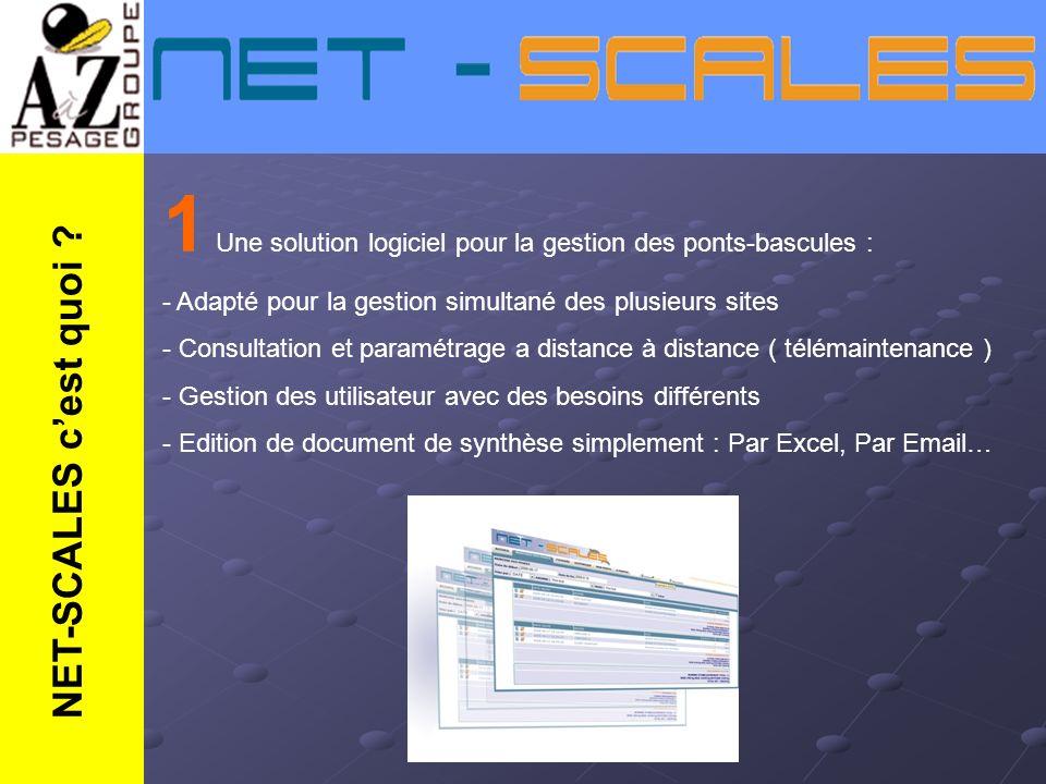 1 Une solution logiciel pour la gestion des ponts-bascules : - Adapté pour la gestion simultané des plusieurs sites - Consultation et paramétrage a di