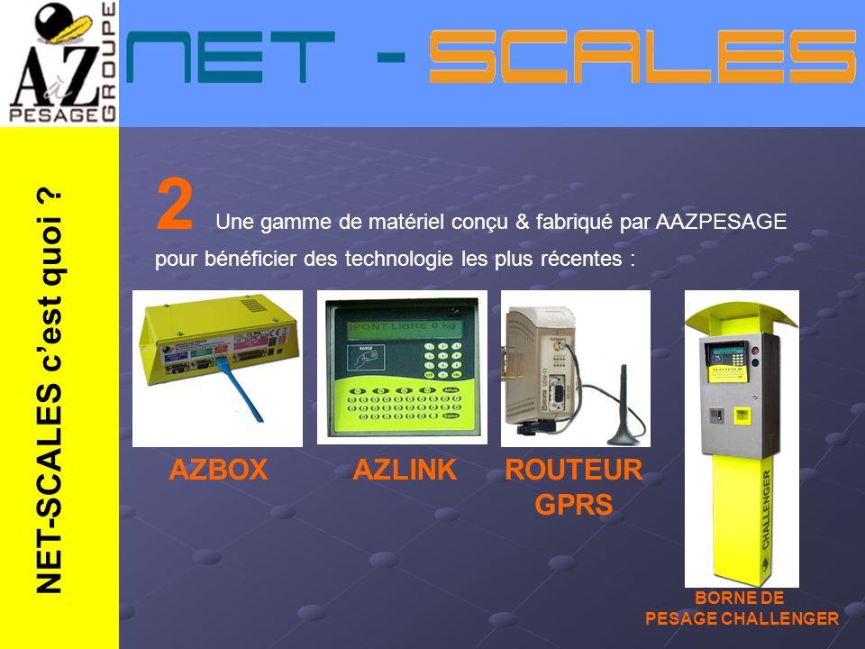 2 Une gamme de matériel conçu & fabriqué par AAZPESAGE pour bénéficier des technologie les plus récentes : AZBOXAZLINKROUTEUR GPRS BORNE DE PESAGE CHA