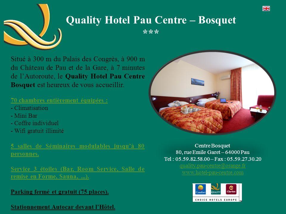 Quality Hotel Pau Centre – Bosquet *** Situé à 300 m du Palais des Congrès, à 900 m du Château de Pau et de la Gare, à 7 minutes de lAutoroute, le Qua