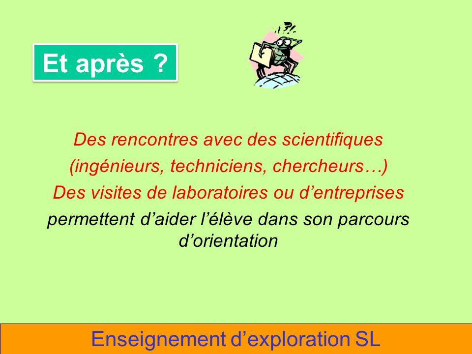 Enseignement dexploration SL Des rencontres avec des scientifiques (ingénieurs, techniciens, chercheurs…) Des visites de laboratoires ou dentreprises